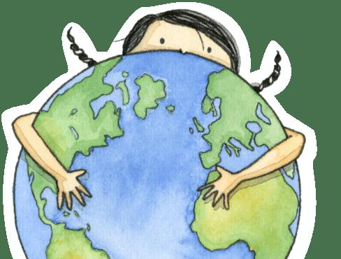 Pilar segurando planeta